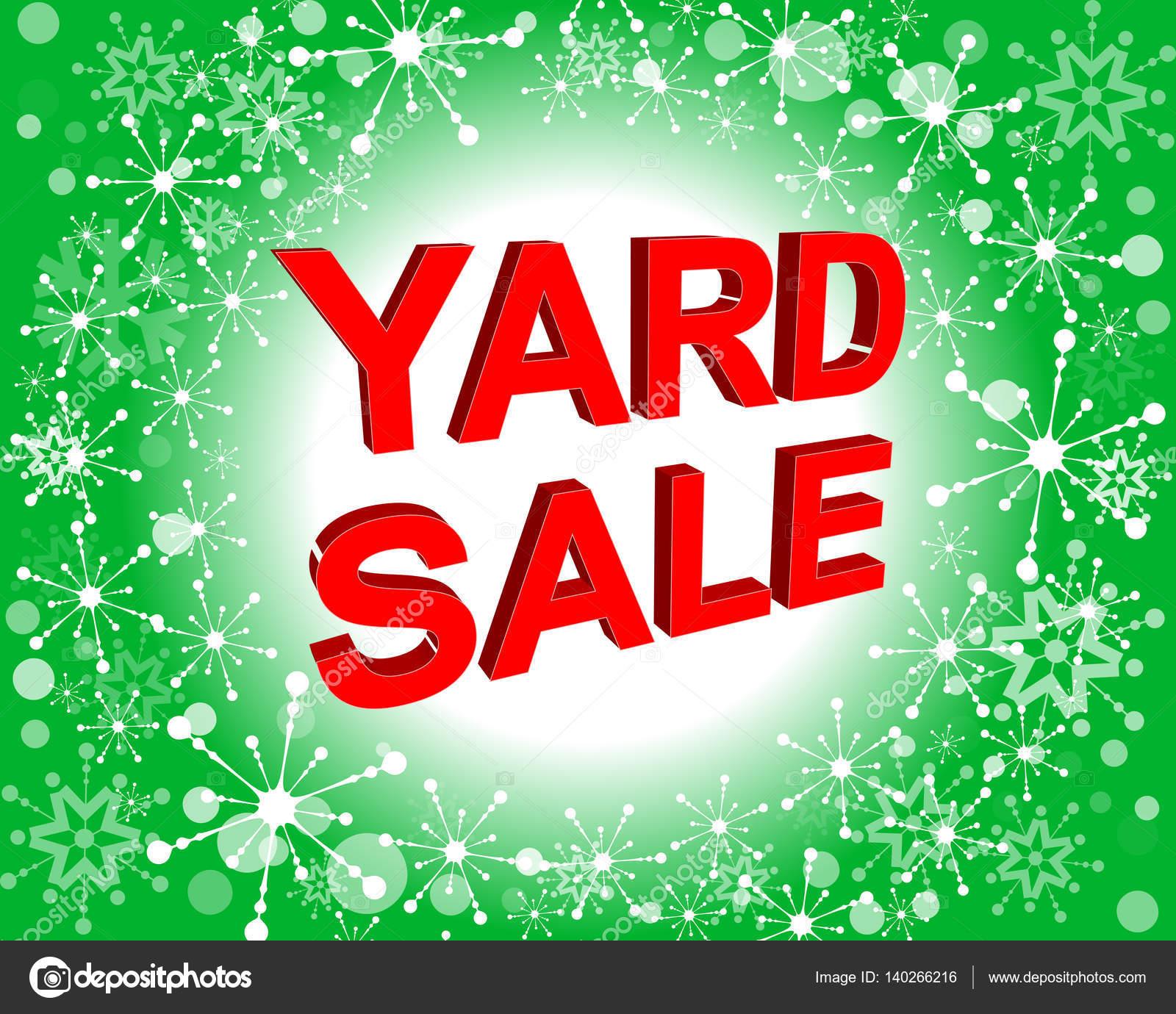 Rote und grüne Verkaufsposter mit Yard Sale Text. Werbe-banner ...
