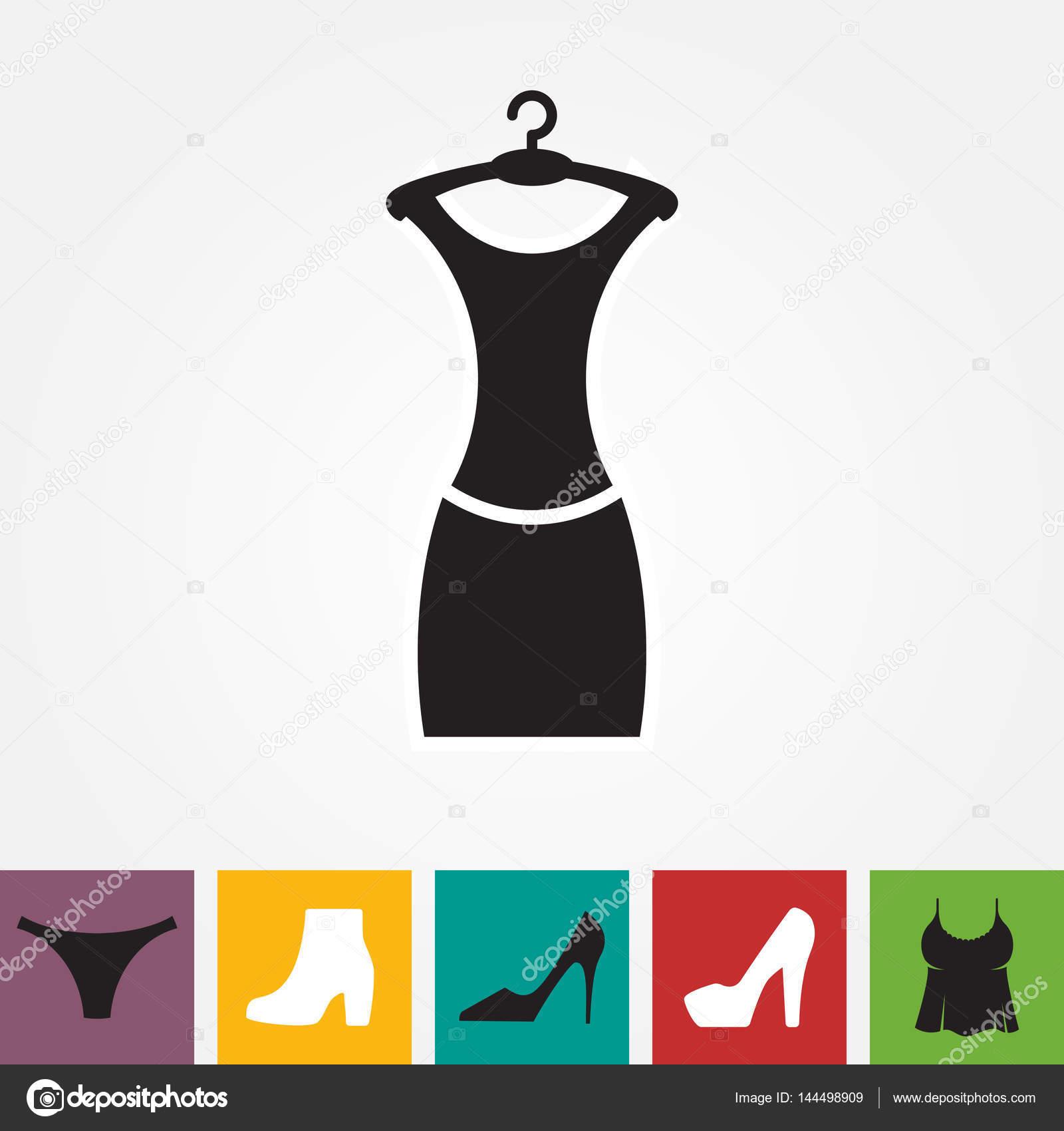 Vestido De Fiesta Icono Silueta Con Aislada Percha — Vector O Moda 5qLRjc34A
