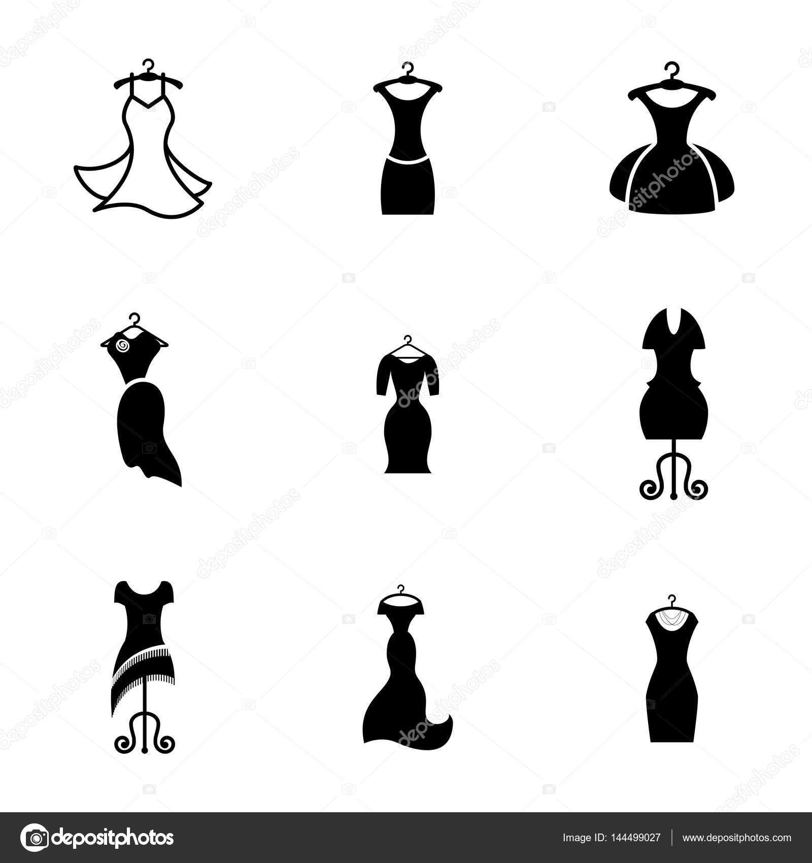 Party Kleid Modeikone oder Silhouette mit Kleiderbügel isoliert ...