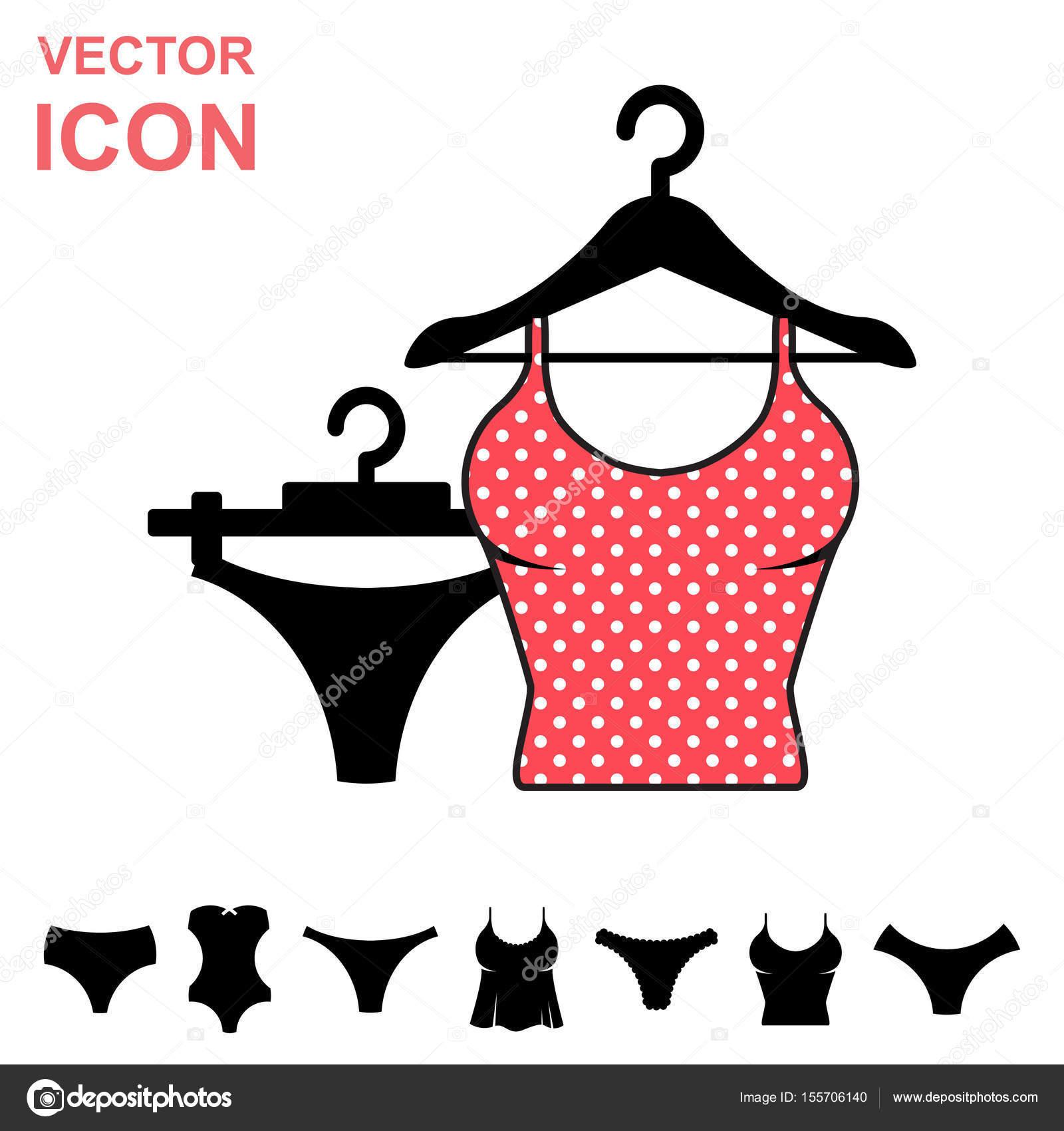 14da7e780a21 Conjunto de icono de Vector de ropa interior sobre fondo blanco ...