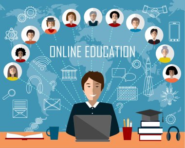 Tutor and online education group. White contour icons background