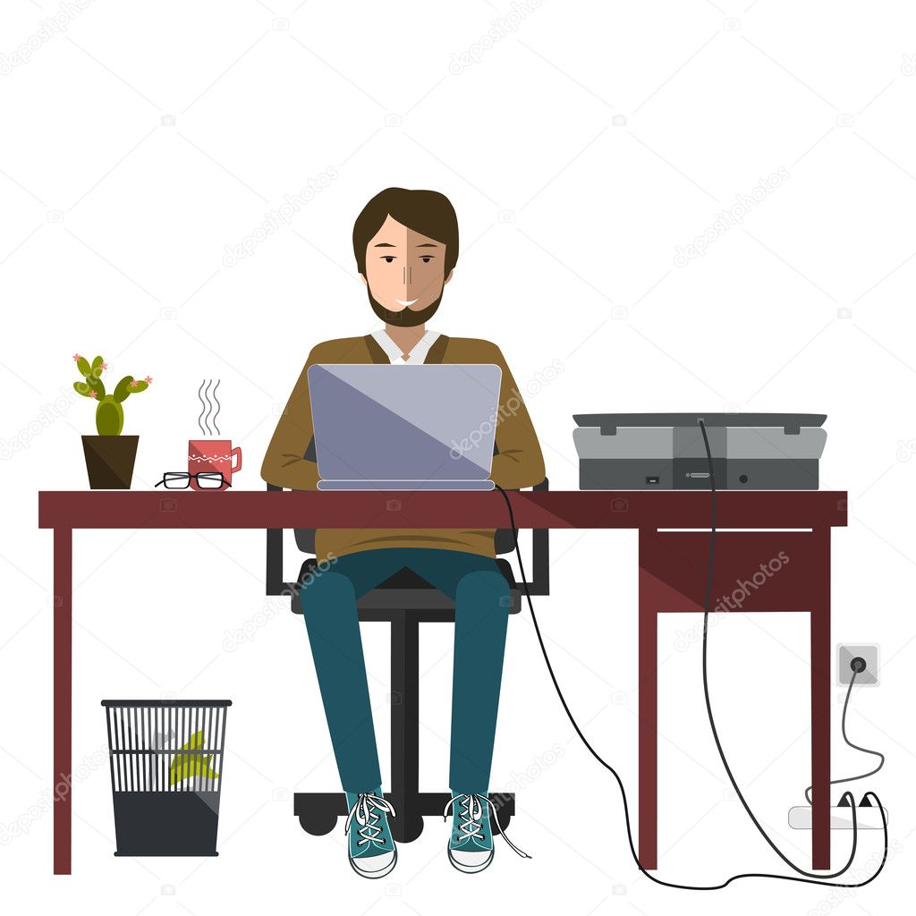 de bureau assis devant lordinateur Fond blanc Image