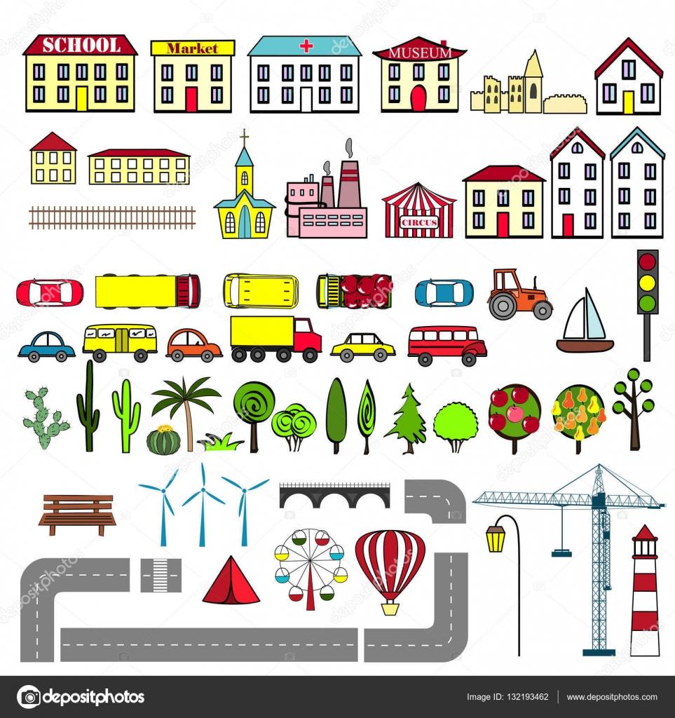 Mapa Ciudad Para Niños.Mapa Para Ninos De Una Ciudad Conjunto De Elementos De