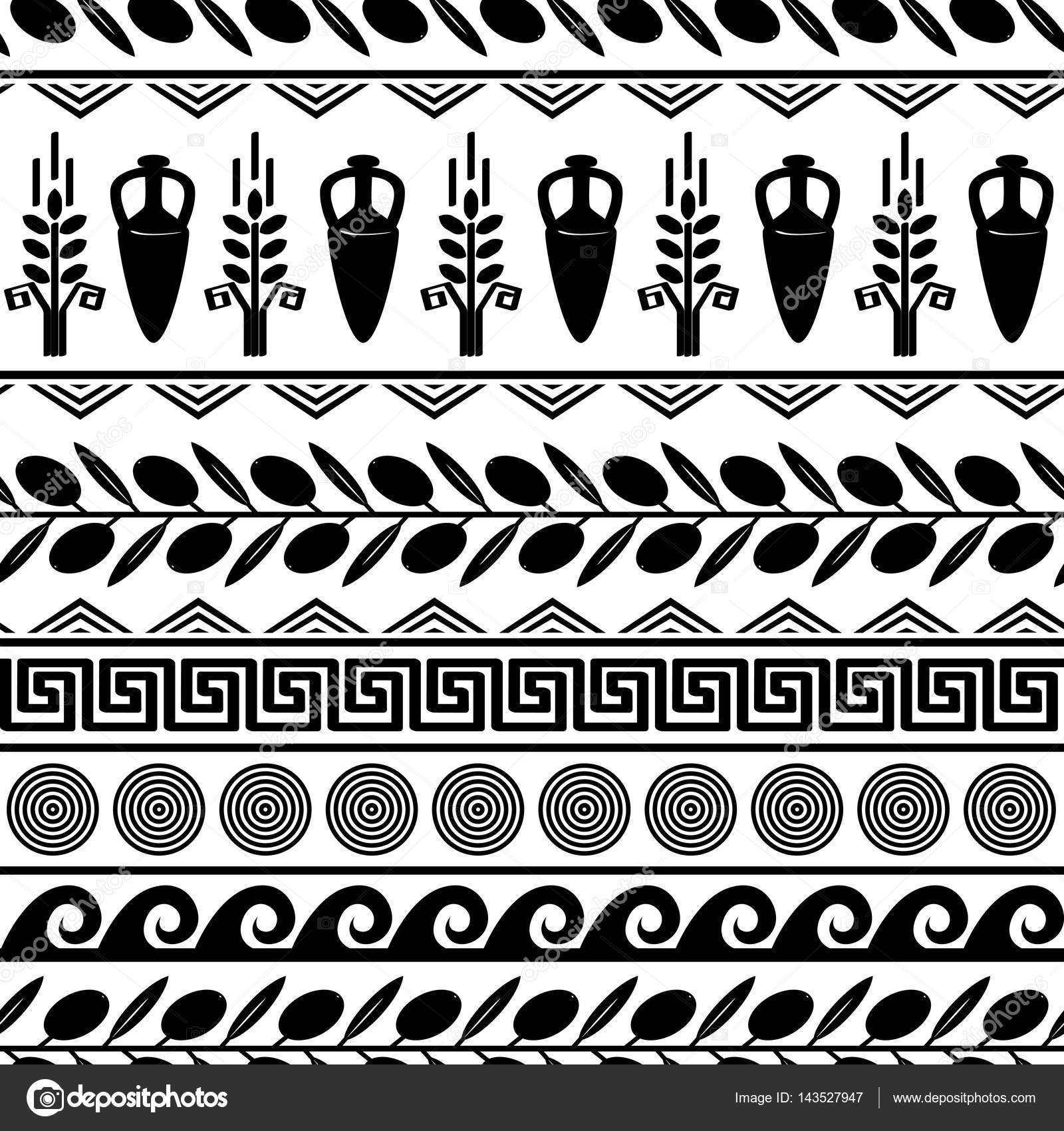 Seamless pattern with olives wheat amphora and greek symbols seamless pattern with olives wheat amphora and greek symbols white and black vector background vector by toltemara buycottarizona