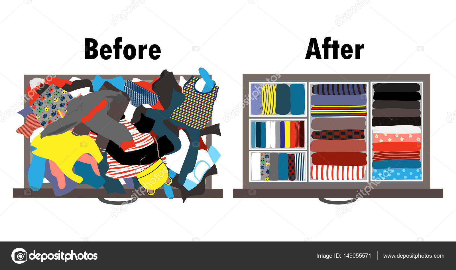 Before And After Tidying Up Kids Wardrobe In Drawer Messy Clothes Nicely Arranged Boxes Inside The Vector Illustration