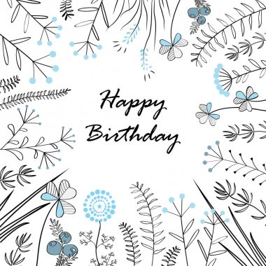 Card with medow herbs and text Happy Birthday. Vector illustration. Illustration for greeting cards, invitations, and other printing projects.