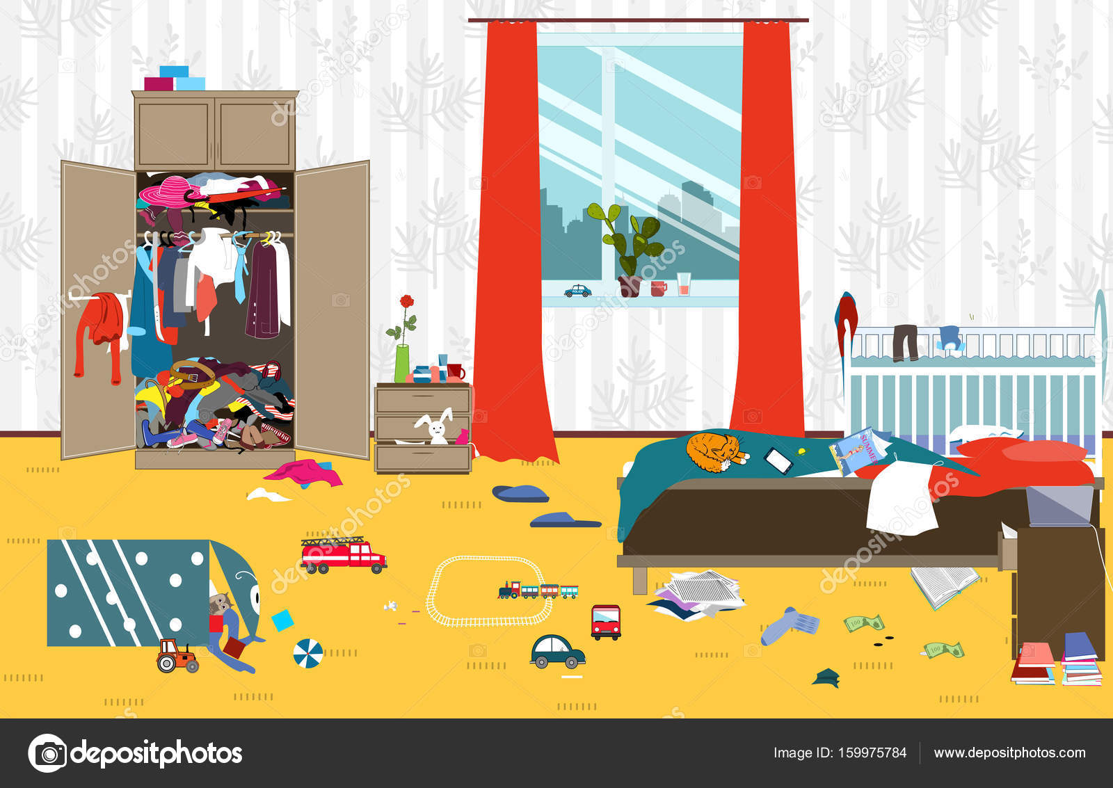 Messy room where young family with little baby lives for Cuarto desordenado