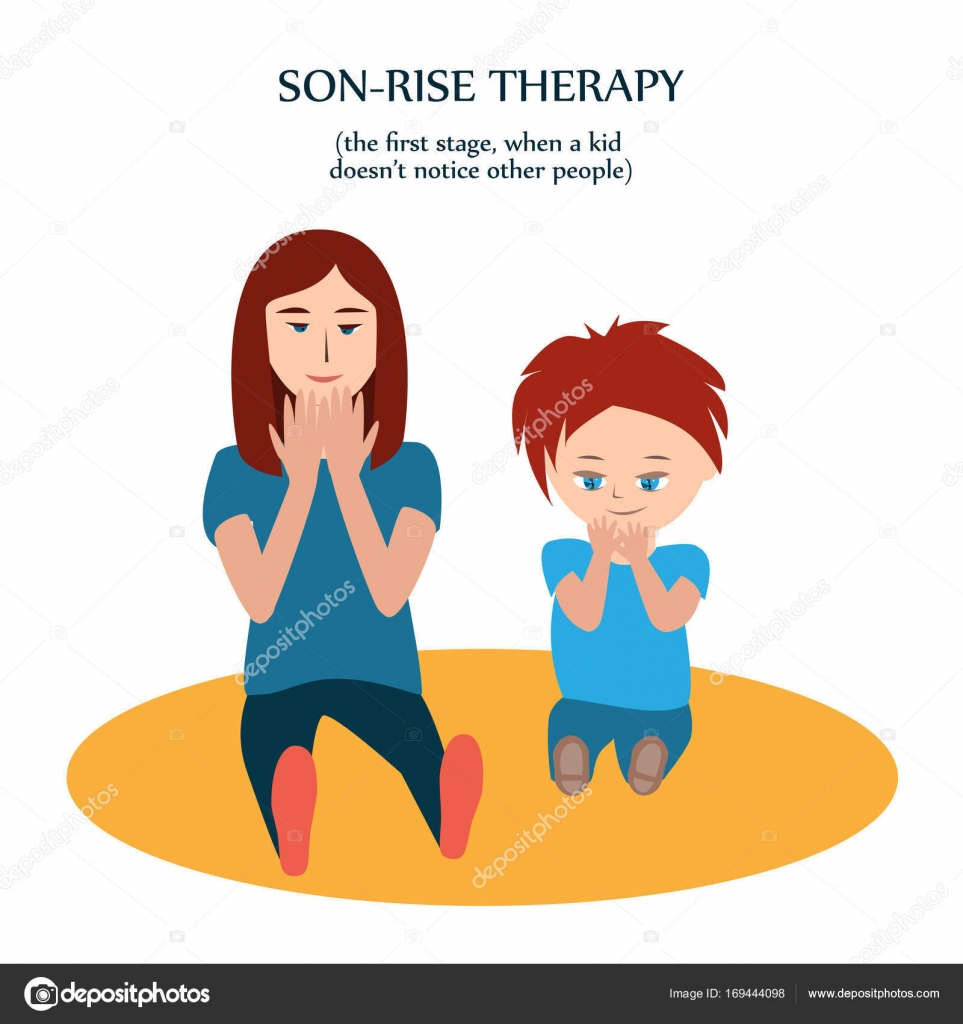 Boy and woman look at their fingers mother copies action of her son boy and woman look at their hands mother copies action of son with autism to show love and understanding son rise method of autism treatment first stage m4hsunfo