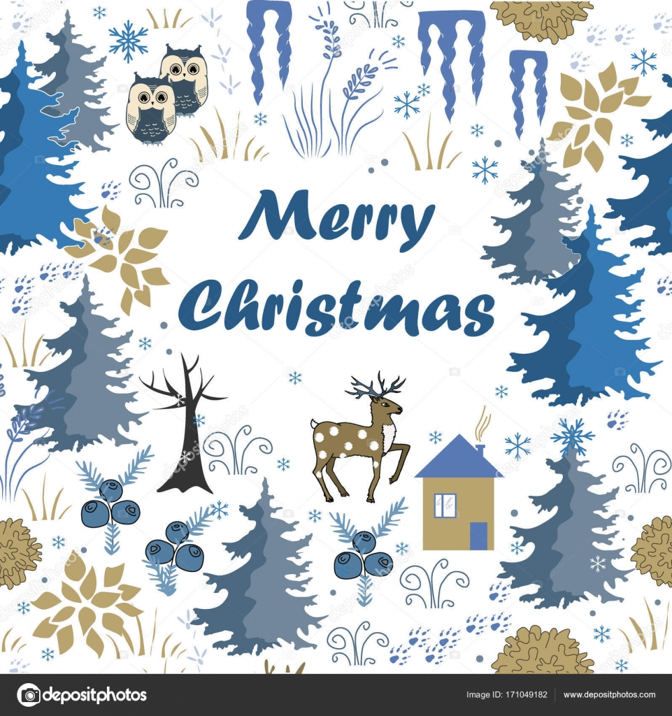 Awesome Winter Merry Christmas Card With House In Forest. Stylish Brown And  Blue Holiday Background. Winter Composition For Lovely Holiday Designs  Vector ...