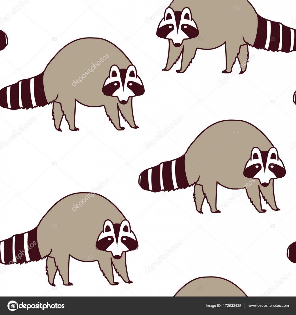 Patrón de vector con lindos mapaches. Ilustración de los niños ...