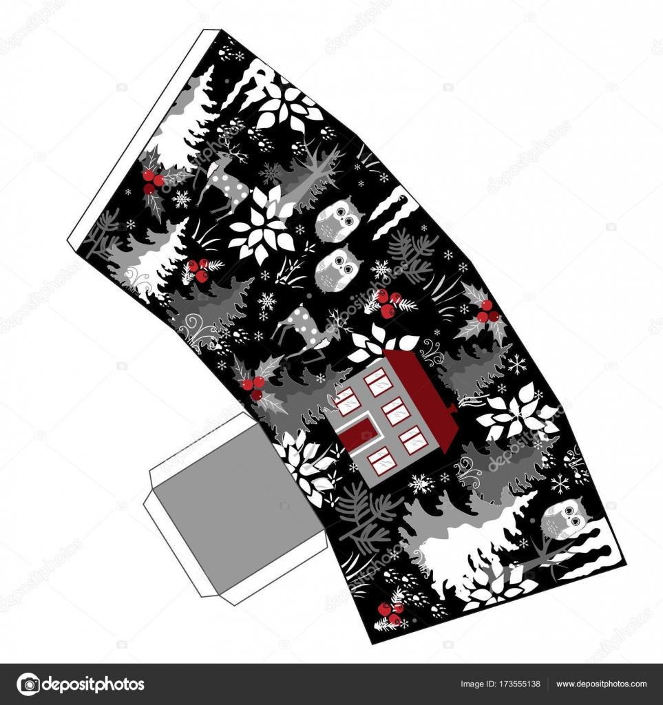 Super Winter-Weihnachts-Popcorn-Box im Doodle Winter Wald Stil ...