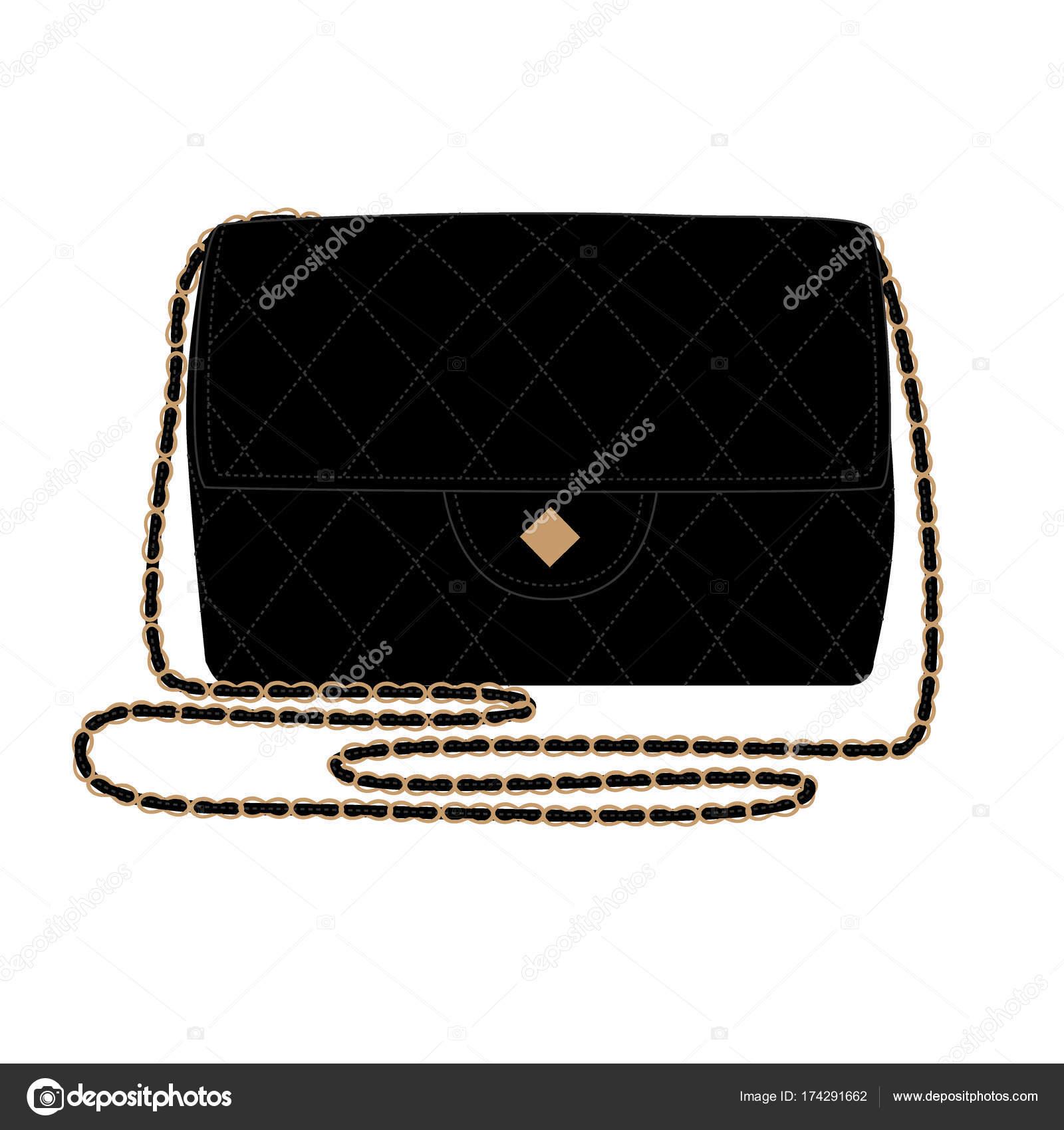 12d8fa331d Fashion Illustration avec couette noir sac à main. Illustration vectorielle de  Chanel sac — Vecteur par ...
