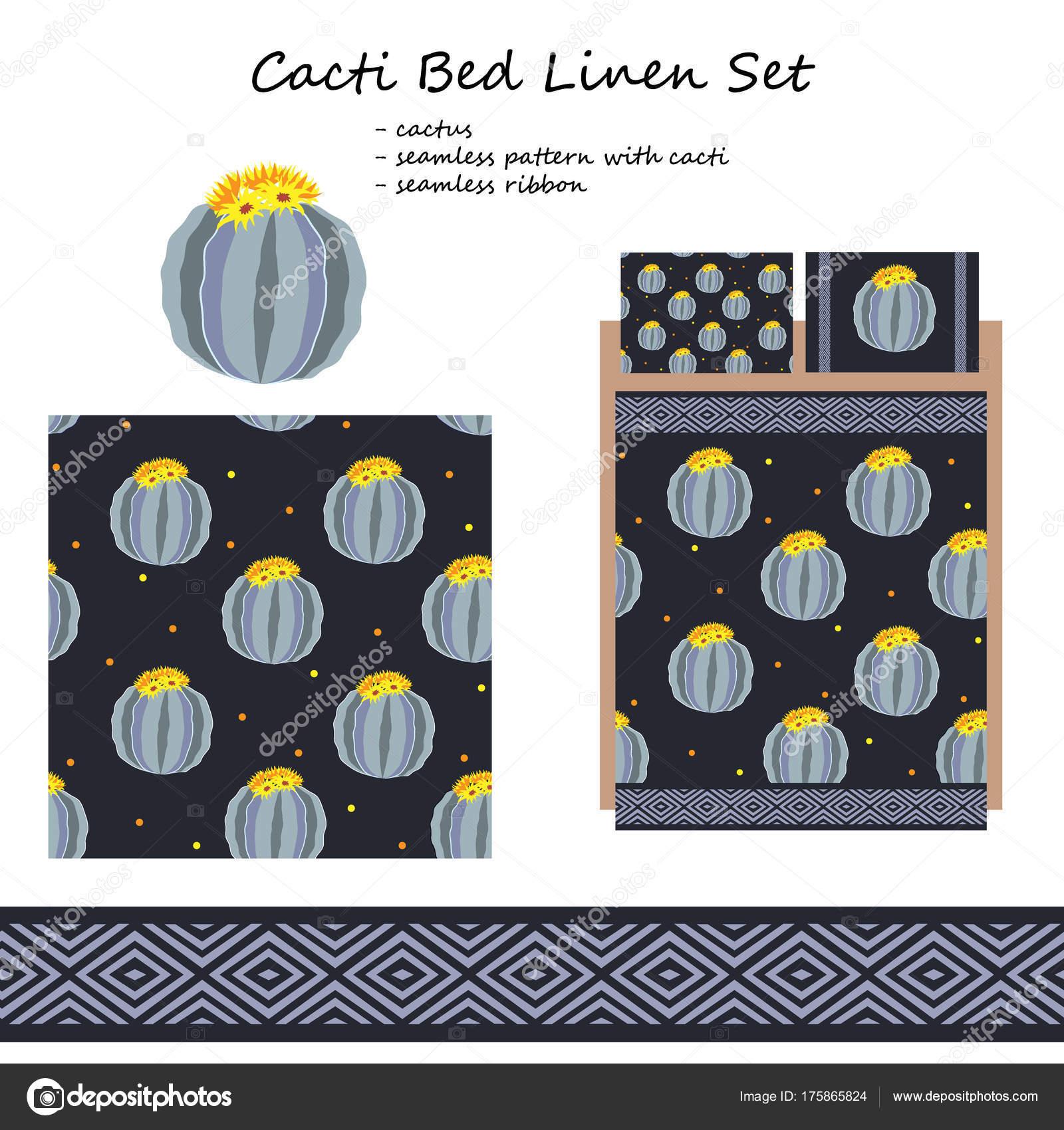 Ropa de cama y ropa de cama diseño vectorial con lindos cactus ...
