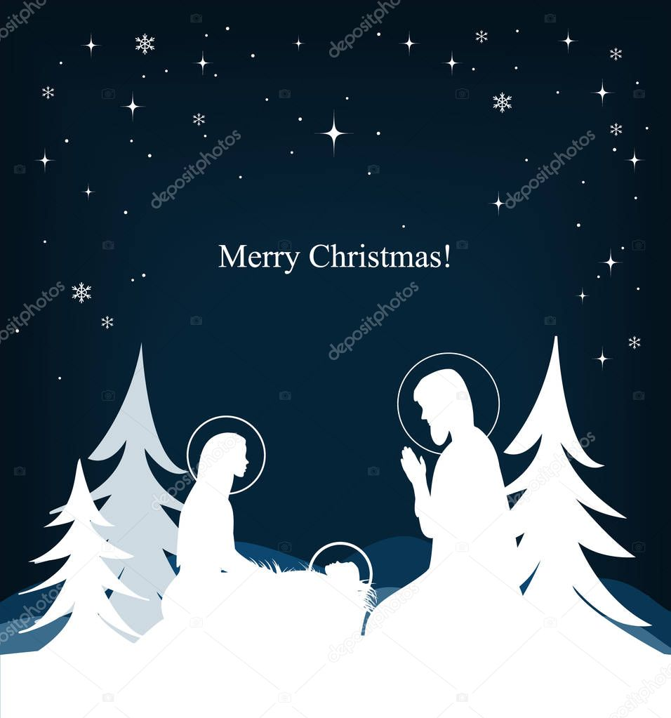 Vector nativity scene. Mary, Jesus, and Joseph silhouettes and fir-trees