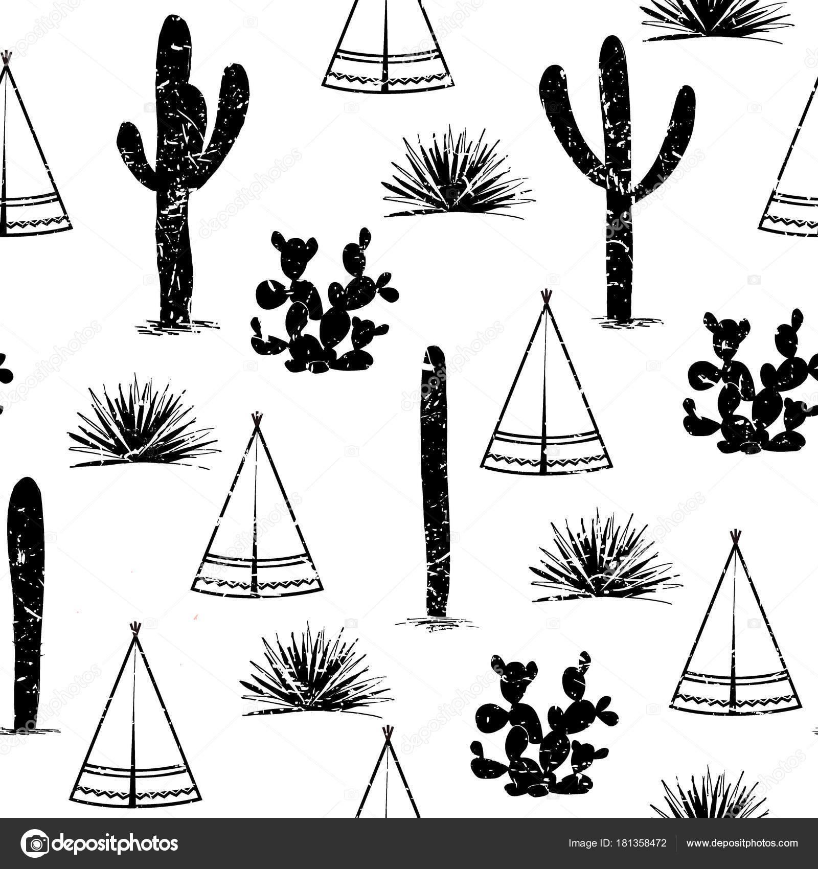 Fond Tribal Indien Wigwam Plat Simple Cactus Et L Herbe Paysage