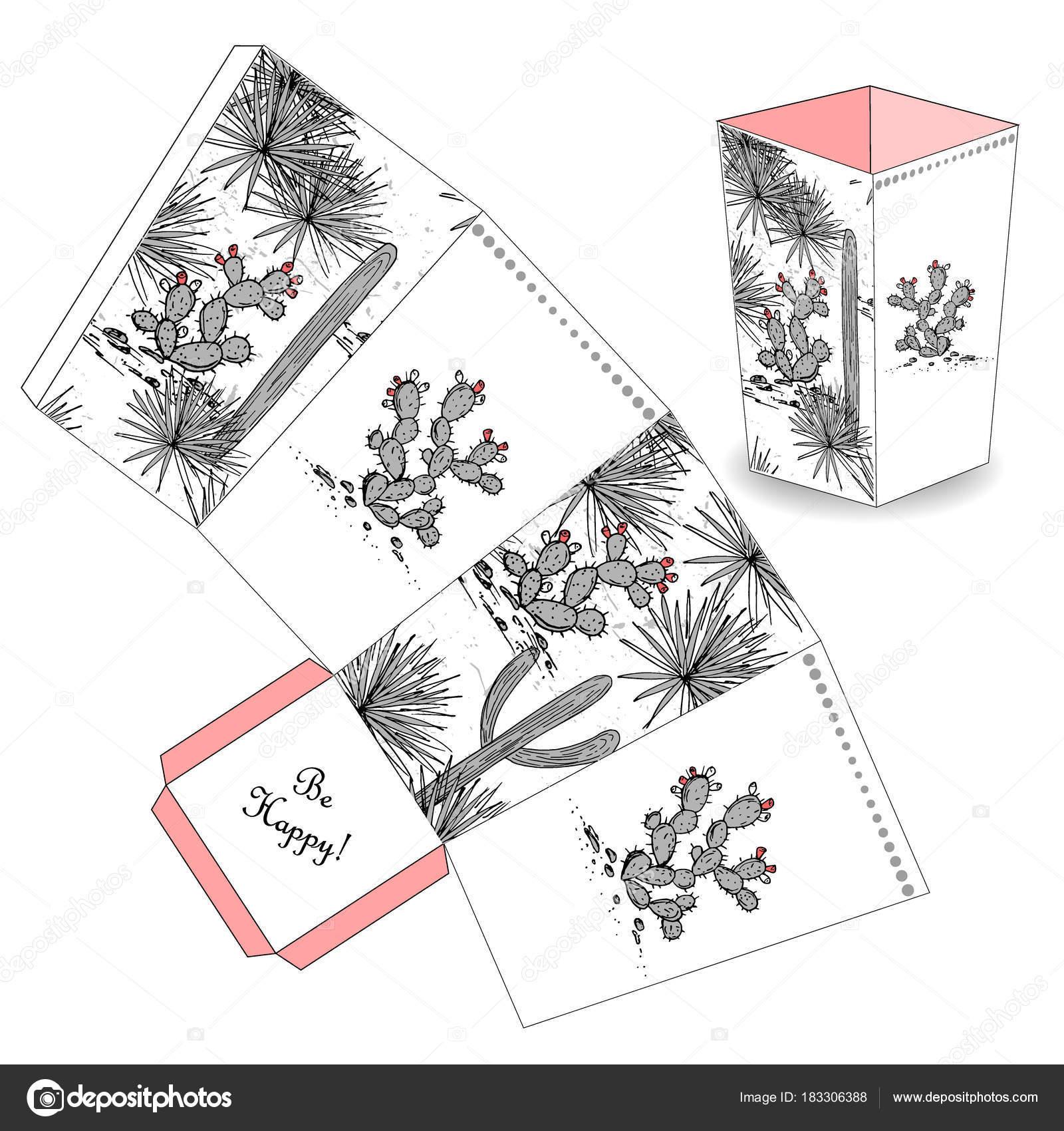 Caixa De Pipoca Bonito Com Cactus De Esboço Desenhado De Mão Favor