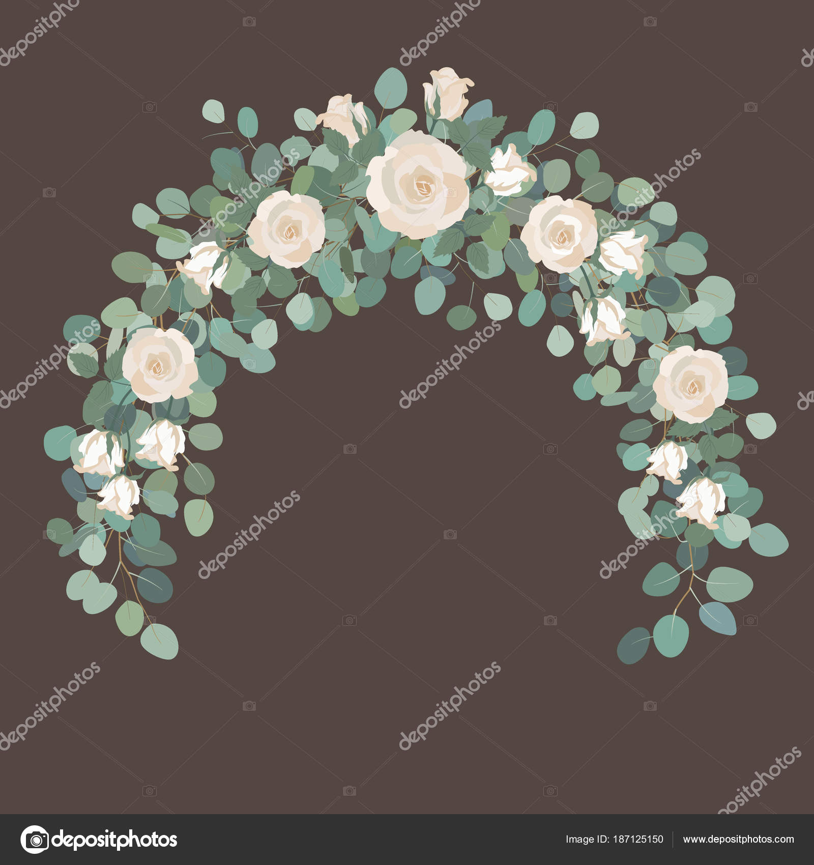 White Rose Flowers And Silver Dollar Eucalyptus Garland Round