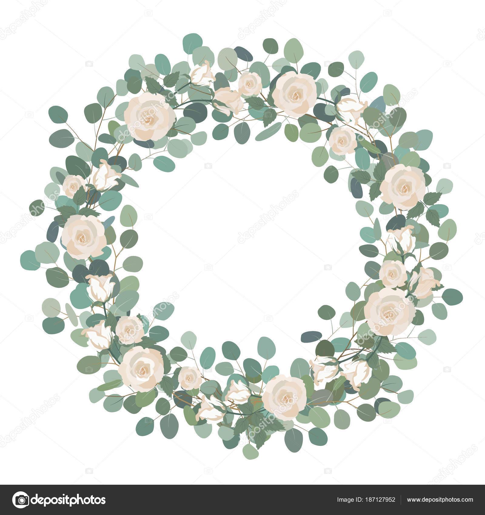 White Rose Flowers And Silver Dollar Eucalyptus Garland Round Wreath Greeting Wedding Invite