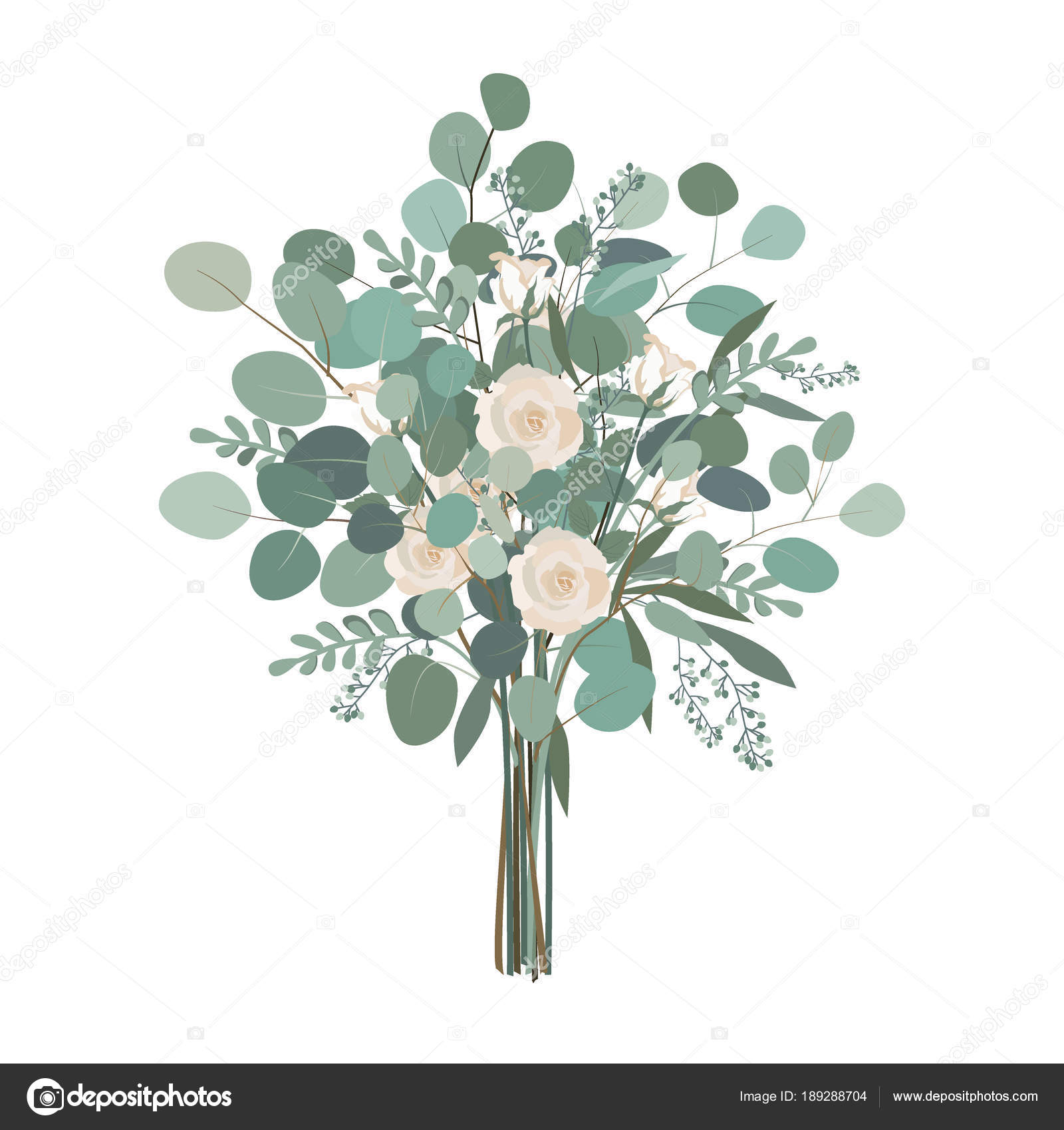 Wedding Bouquet With Rose Flowers Seeded And Silver Dollar