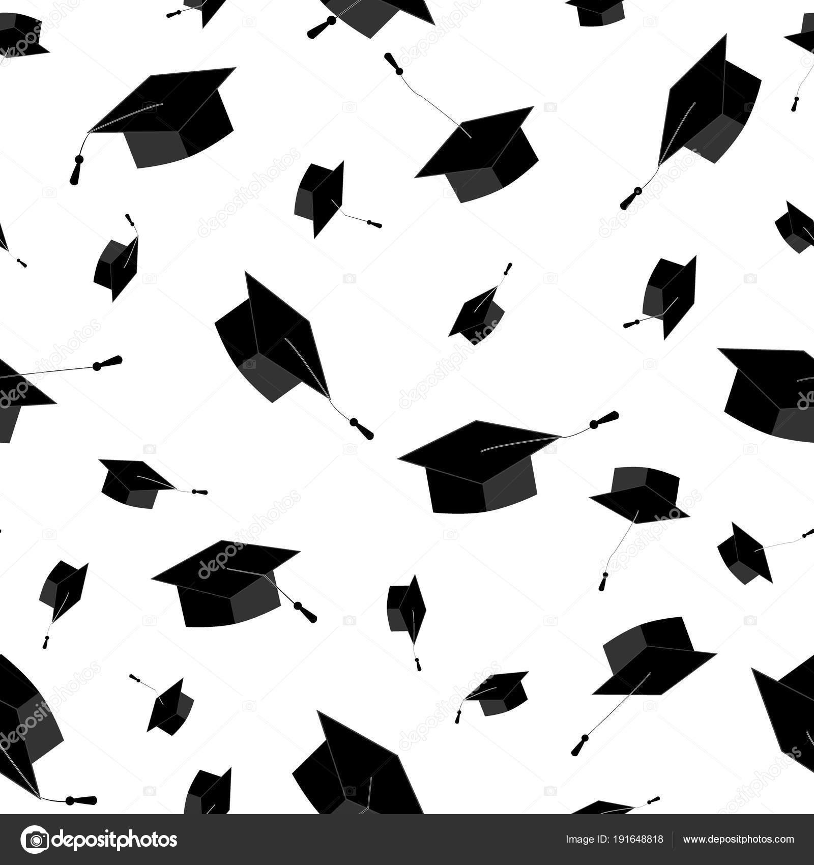 Casquillos de la graduación volar en el aire. De patrones sin ...