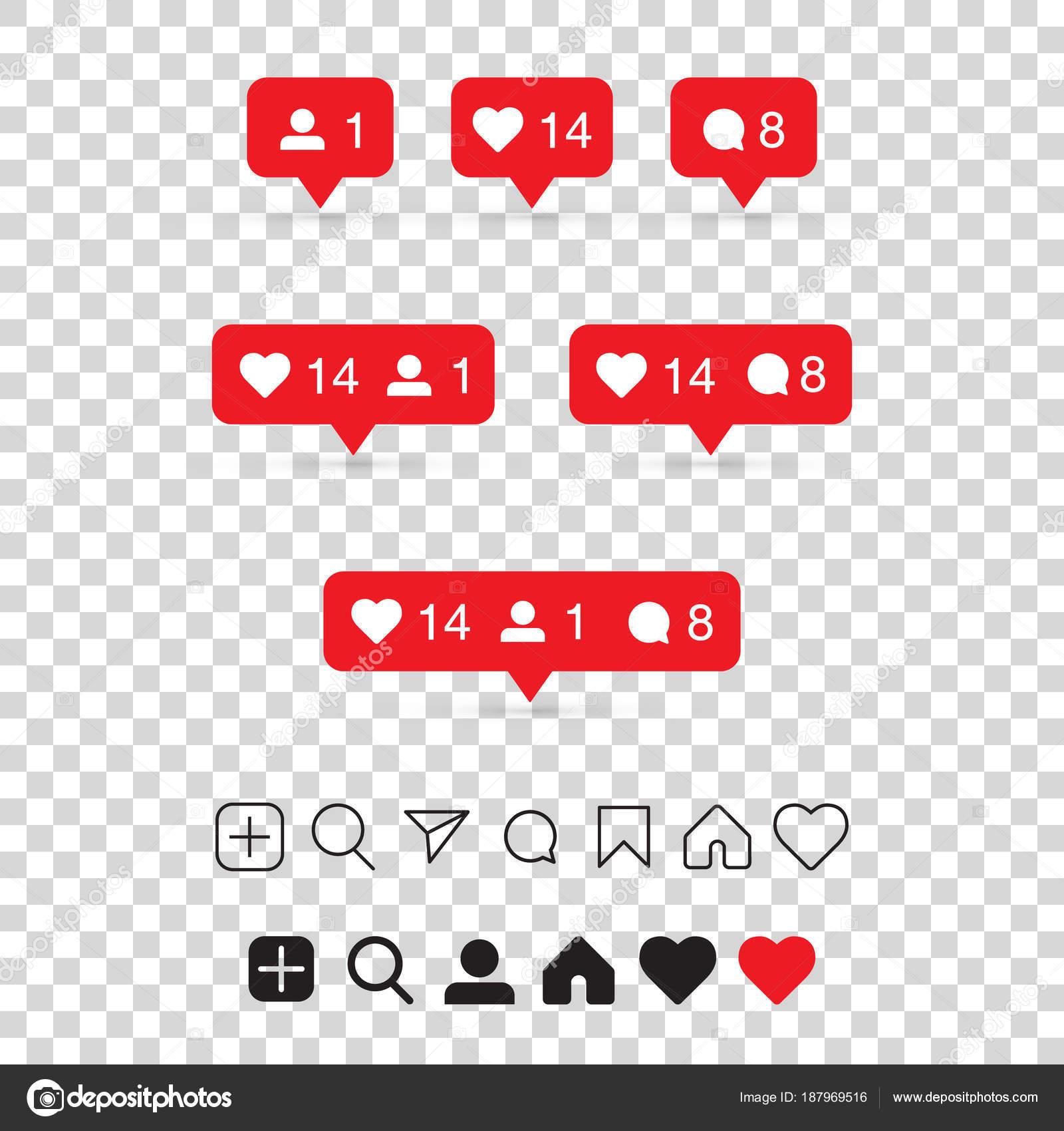 Vector Illustration Instagram: Set Social Media Icons Inspired Instagram Follower Comment