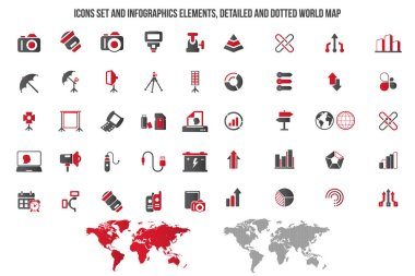 Photography and Camera Icon set. Universal icons for web and mobile. Vector.