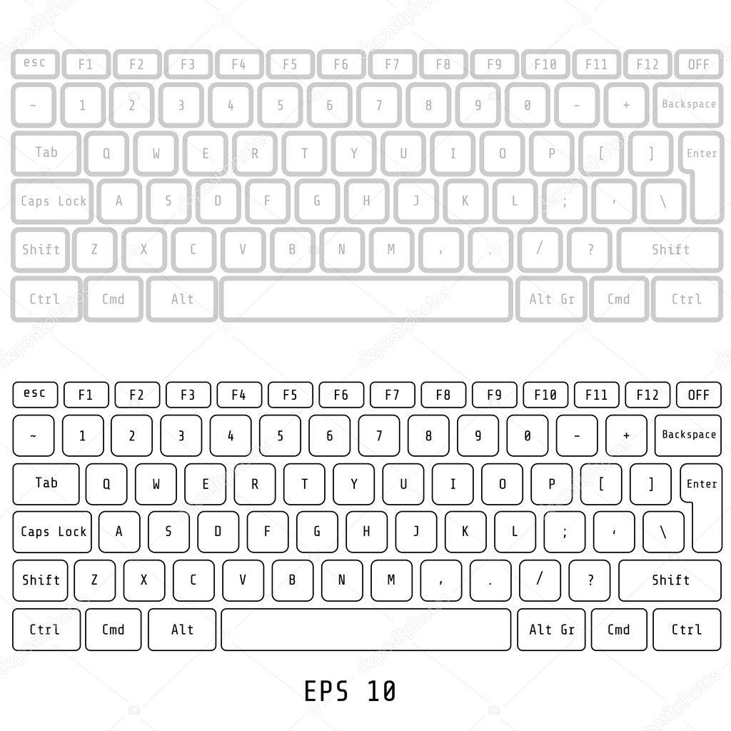 Plantilla de diseño de botón de teclado de equipo blanco — Vector de ...