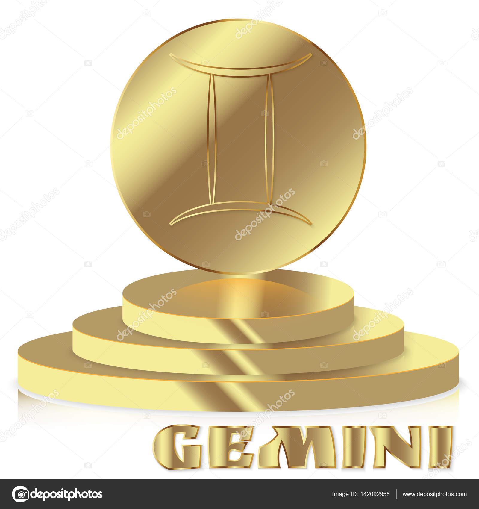 Gold Zodiac Sign Gemini Astrological And Horoscope Symbol Stock