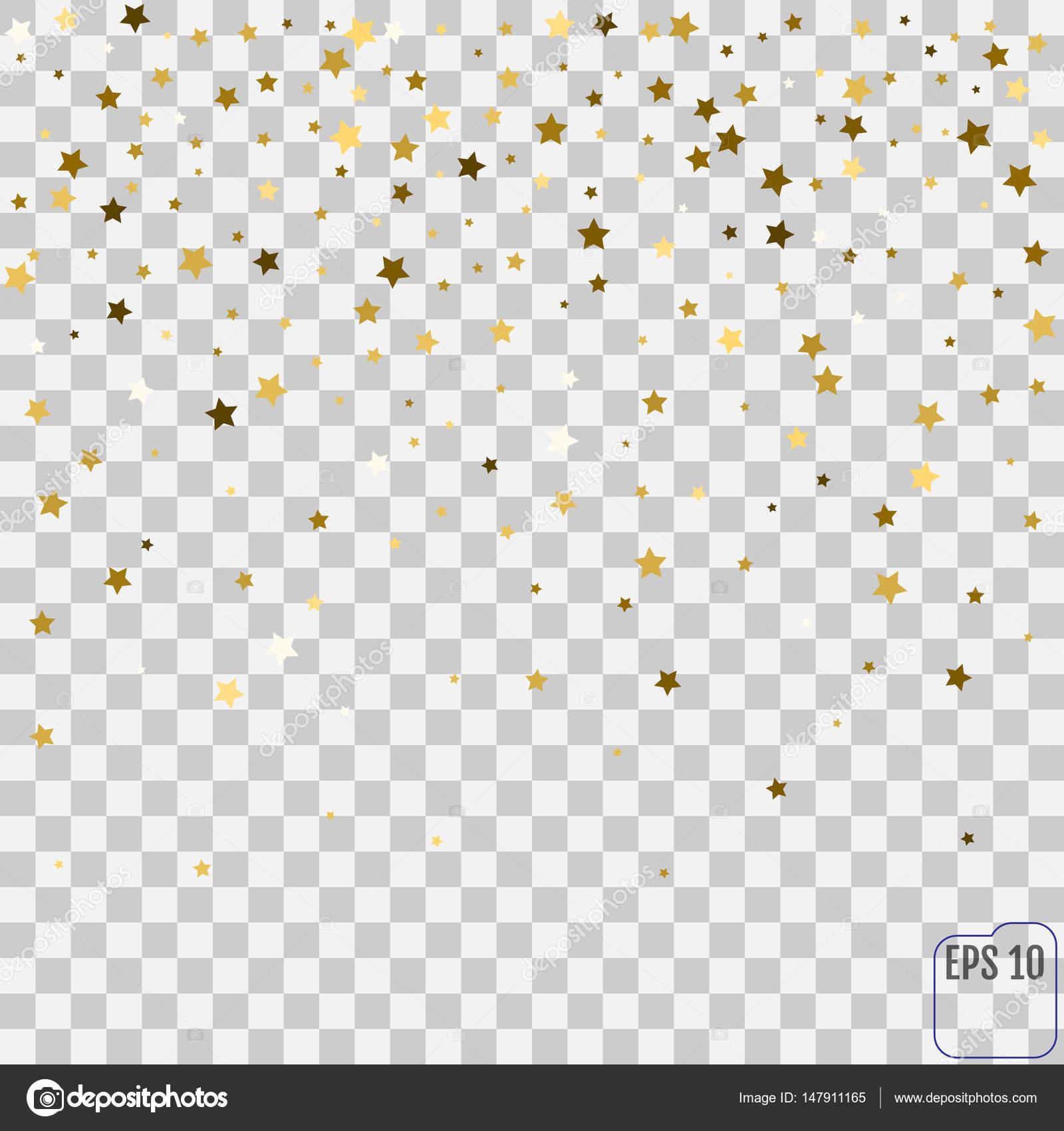 Abstract pattern of random falling golden stars on