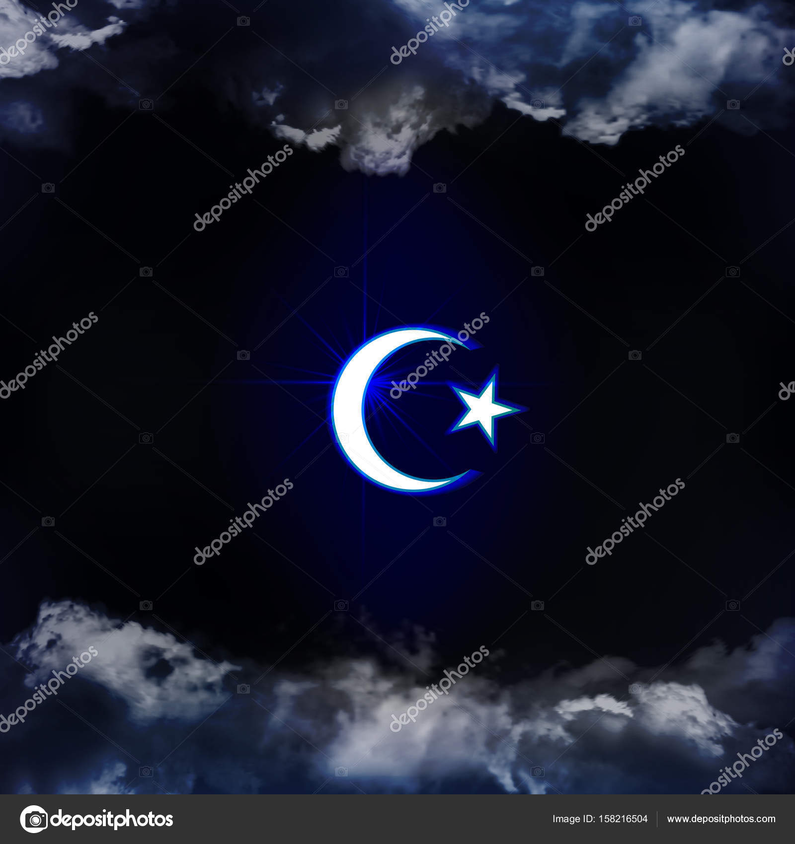 Symbols Of Islam Religion The Symbol Is Seen Through The Clouds