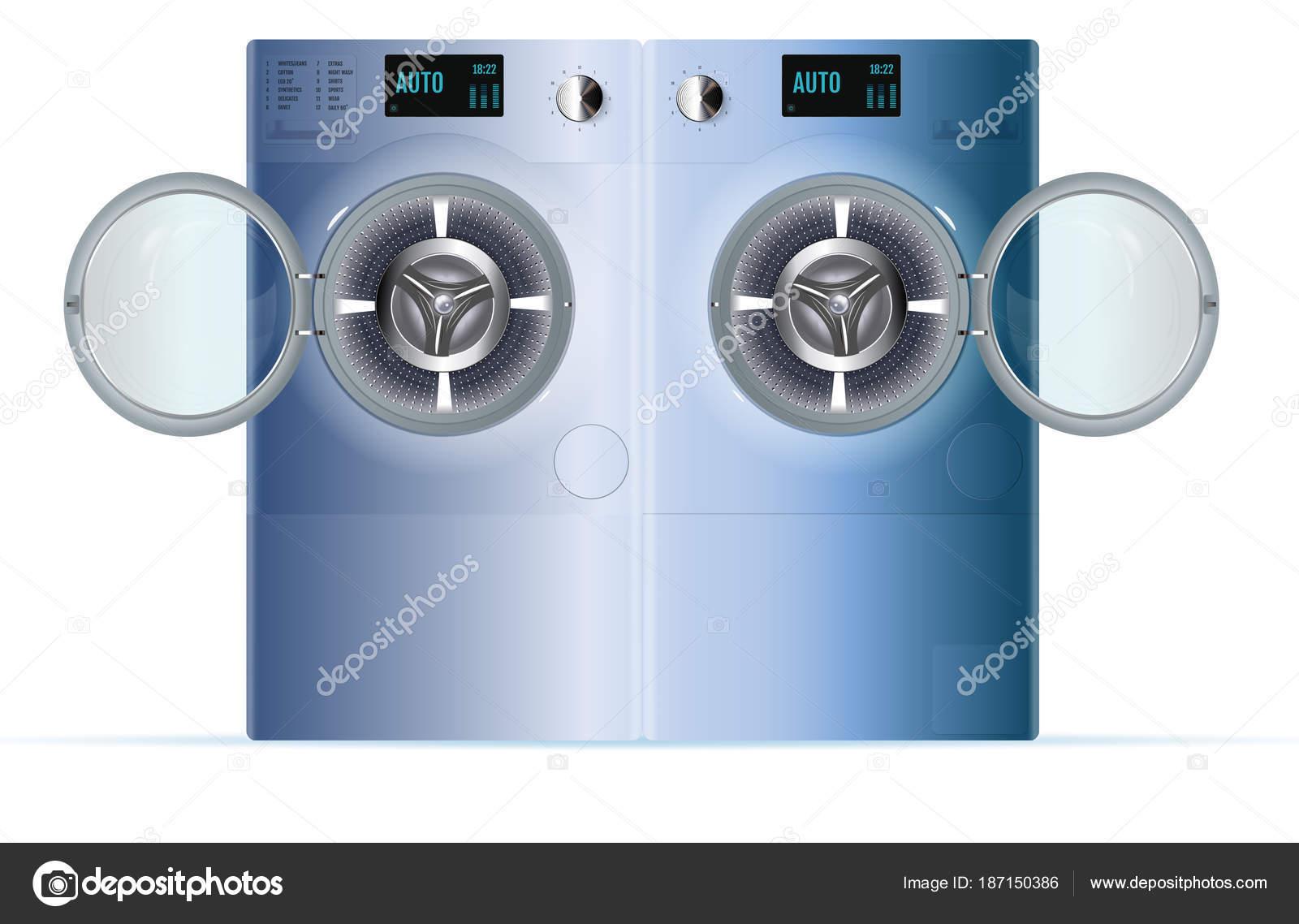 4b608f24a569 Άνοιγμα διπλό πλυντήριο ρούχων. Μπροστινή άποψη του μπλε χάλυβα ατμού  ροδέλα. Απομονωμένη πλυντήριο ρούχων σε λευκό φόντο — Διάνυσμα με ...
