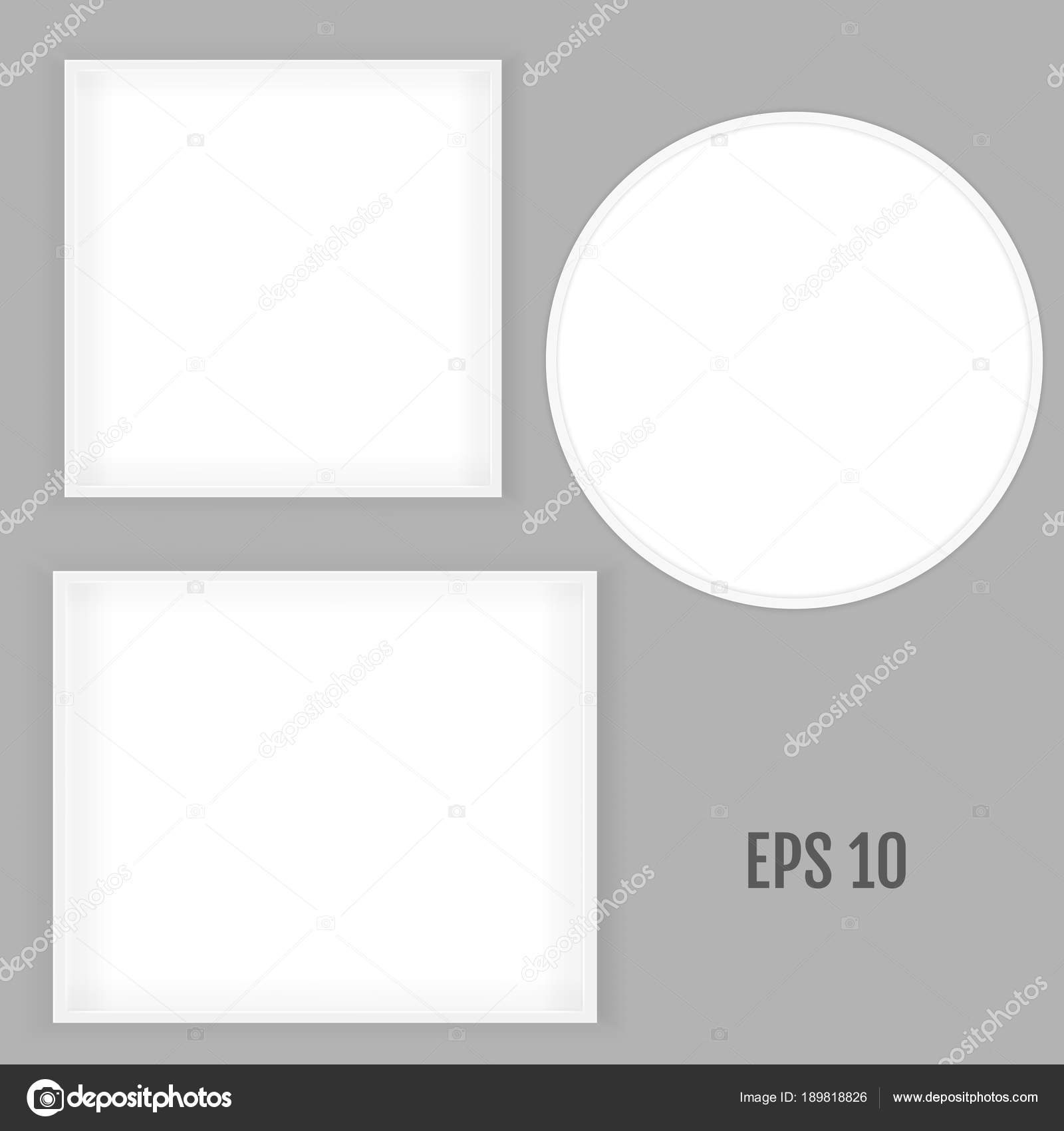 3D Bild quadratische und Runde Rahmen-Design. Realistische Quadrat ...