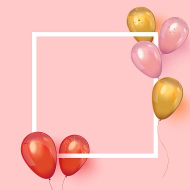 Realistic balloons around the frame with place for text