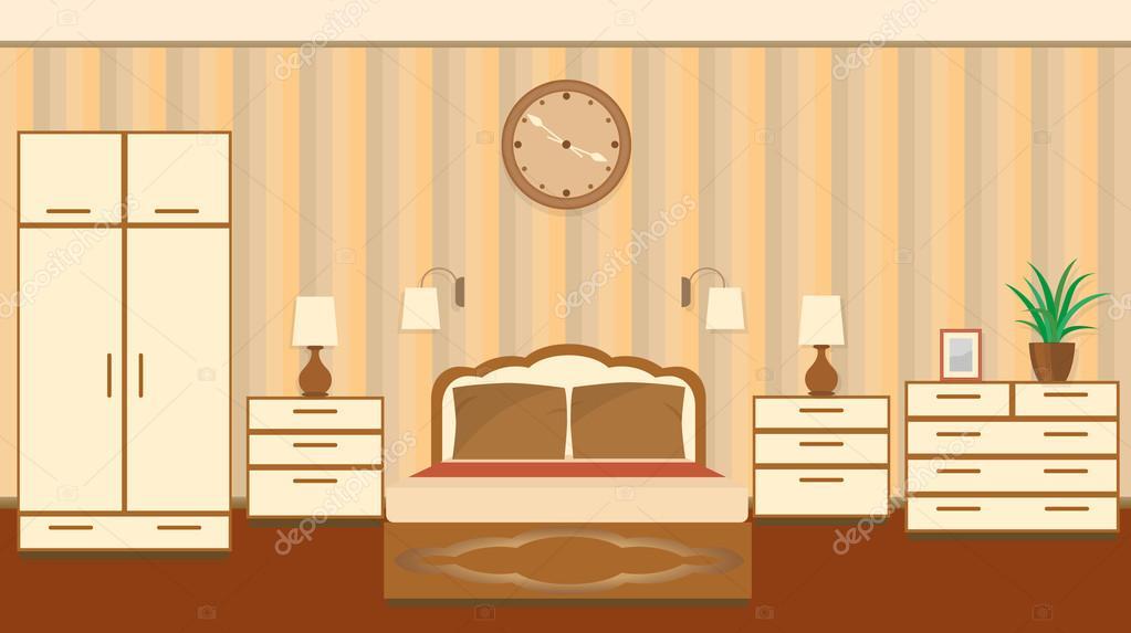 Schlafzimmer In Pastelltönen   Schlafzimmer Innenraum In Pastelltonen Mit Mobeln Stockvektor