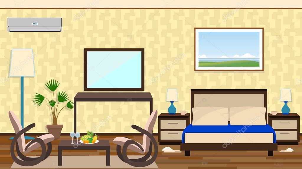 Flache Interieur Eines Hotelzimmers Mit Ruhezone Möbel D