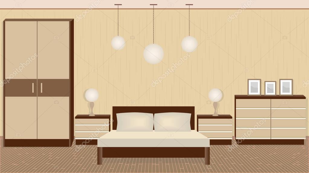 Interiore di graziosa camera da letto in colori caldi con mobili ...