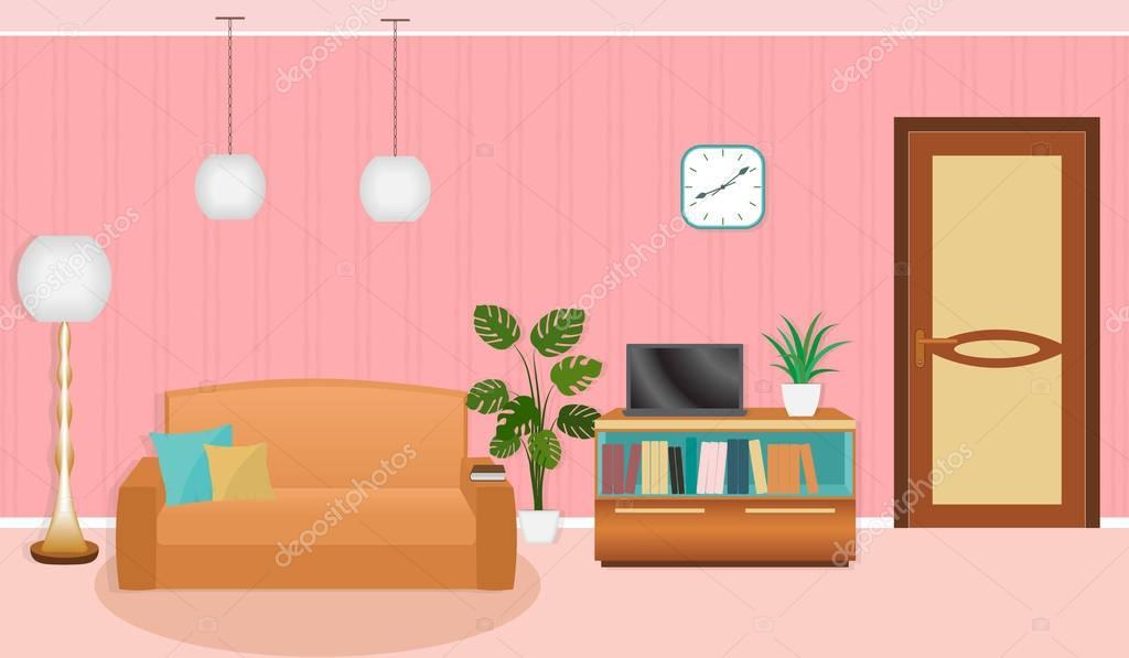Helle Farben Wohnzimmer Einrichtung Mit Möbeln. Vektor Illustration Im  Flachen Stil U2014 Vektor Von Generationclash85@gmail.com