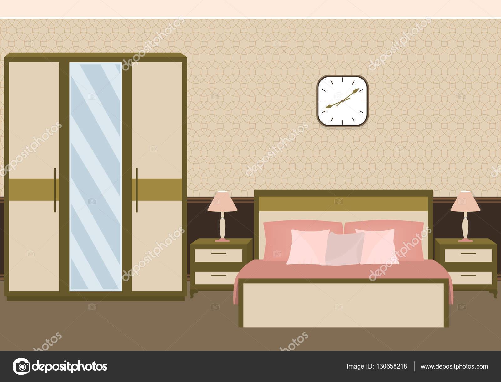 Colori Pastello Per Camera Da Letto : Interno camera da letto in colori pastello con mobili u vettoriali