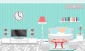 Interiér obývacího pokoje včetně nábytku, klimatizace a domácí kino.