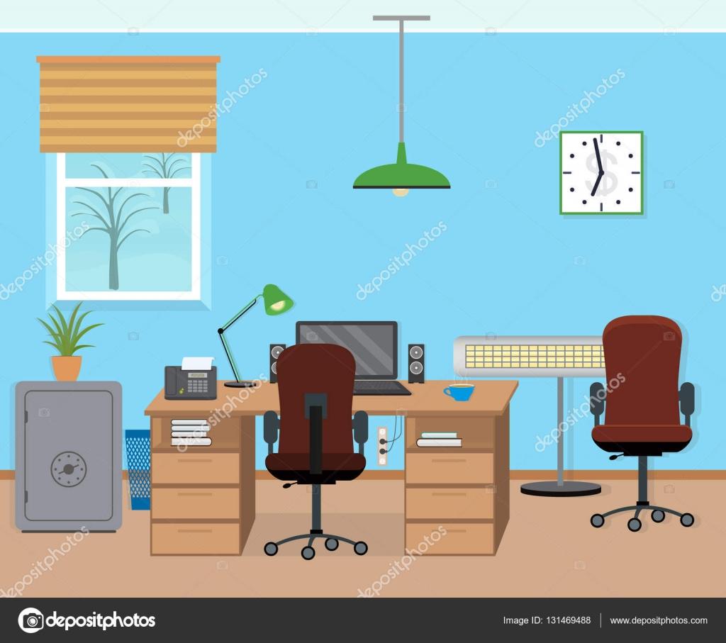 Interior de sala de oficina de invierno con mobiliario y for Mobiliario y equipo