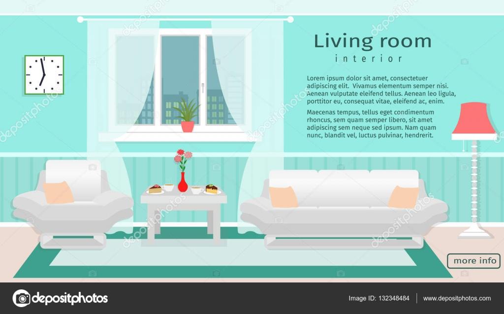 Website-Banner von Wohnzimmer Interieur mit Möbel und Fenster ...