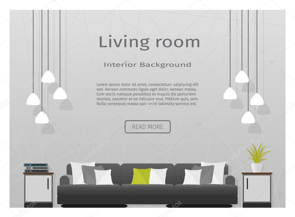 Moderne Wohnzimmer Interieur Banner Für Ihre Web Design U2014 Stockvektor