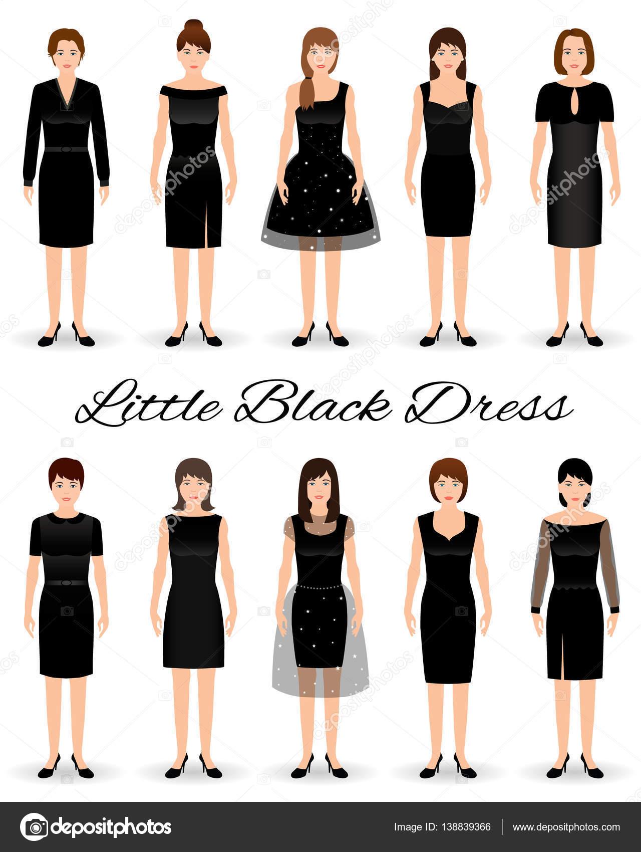 Gruppe von Frauen in kleine schwarze Kleider. Satz von Cocktail ...