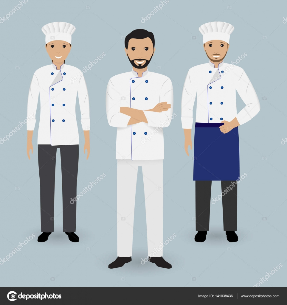 Chef and two cook in uniform standing together. Cooking people ...