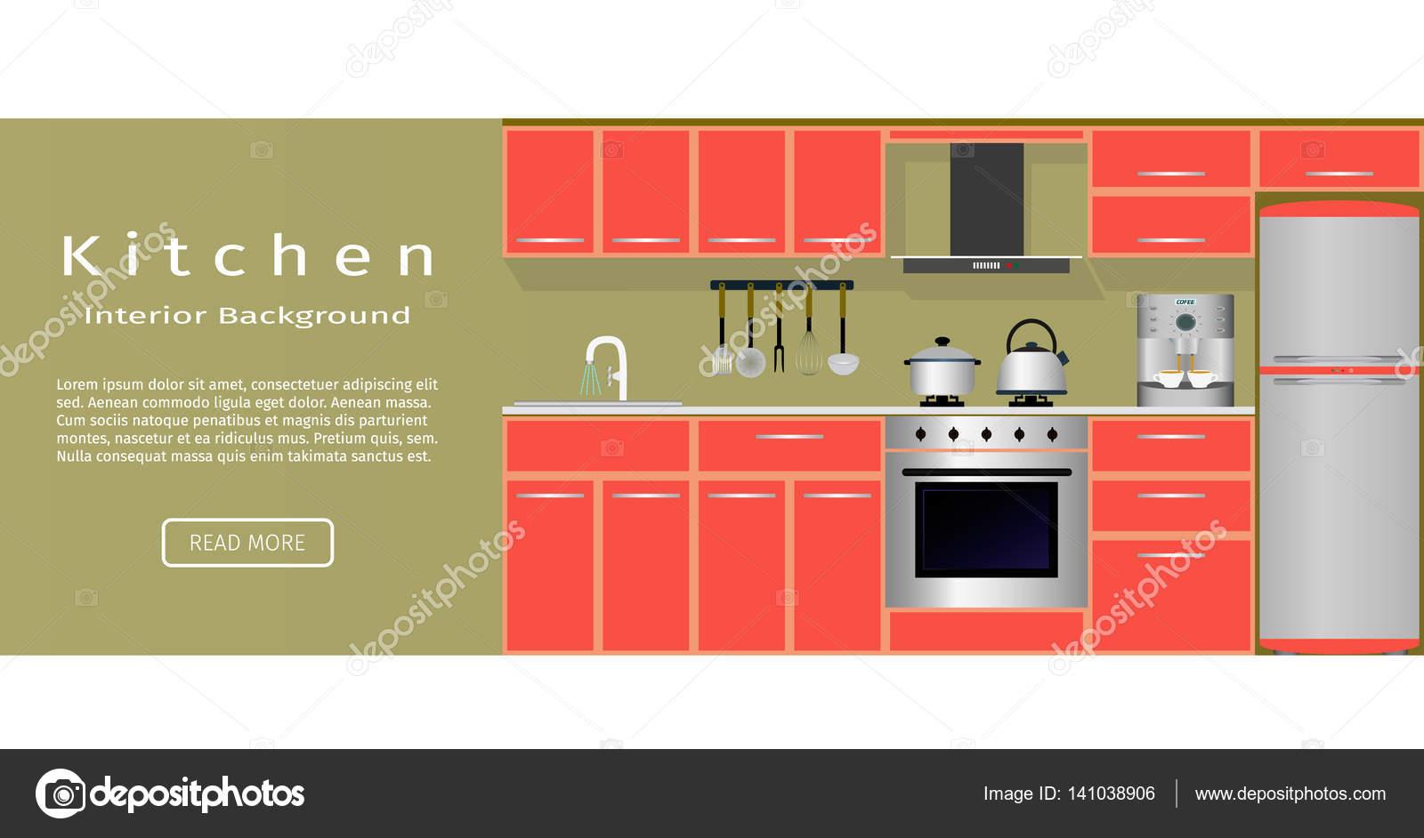 Banner interior de sala de cocina para su diseño web — Archivo ...