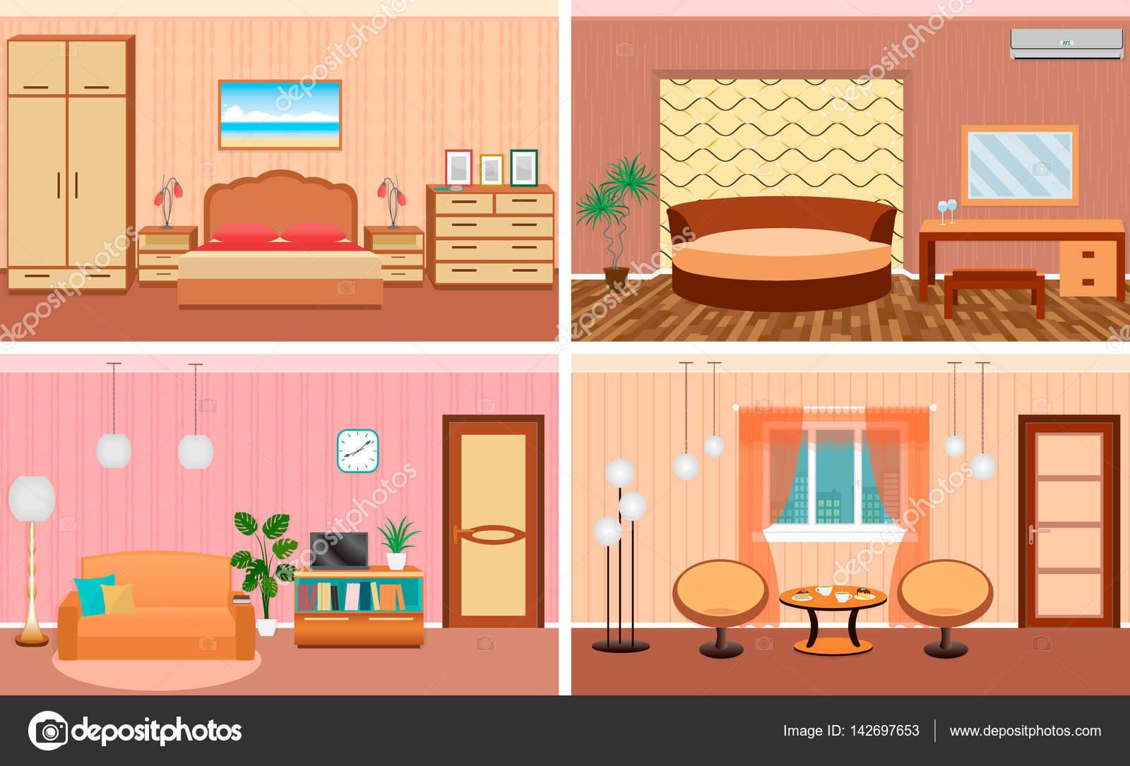Vier Wohnzimmer Innenräume in einem Set. Schlafzimmer und Halle ...