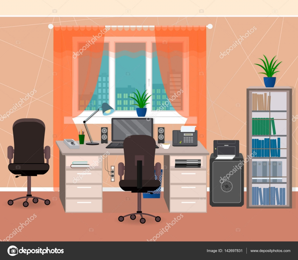 Office Interior Workspace With Furniture And Stationery. Workplace  Organization In Home Environment. U2014 Stock