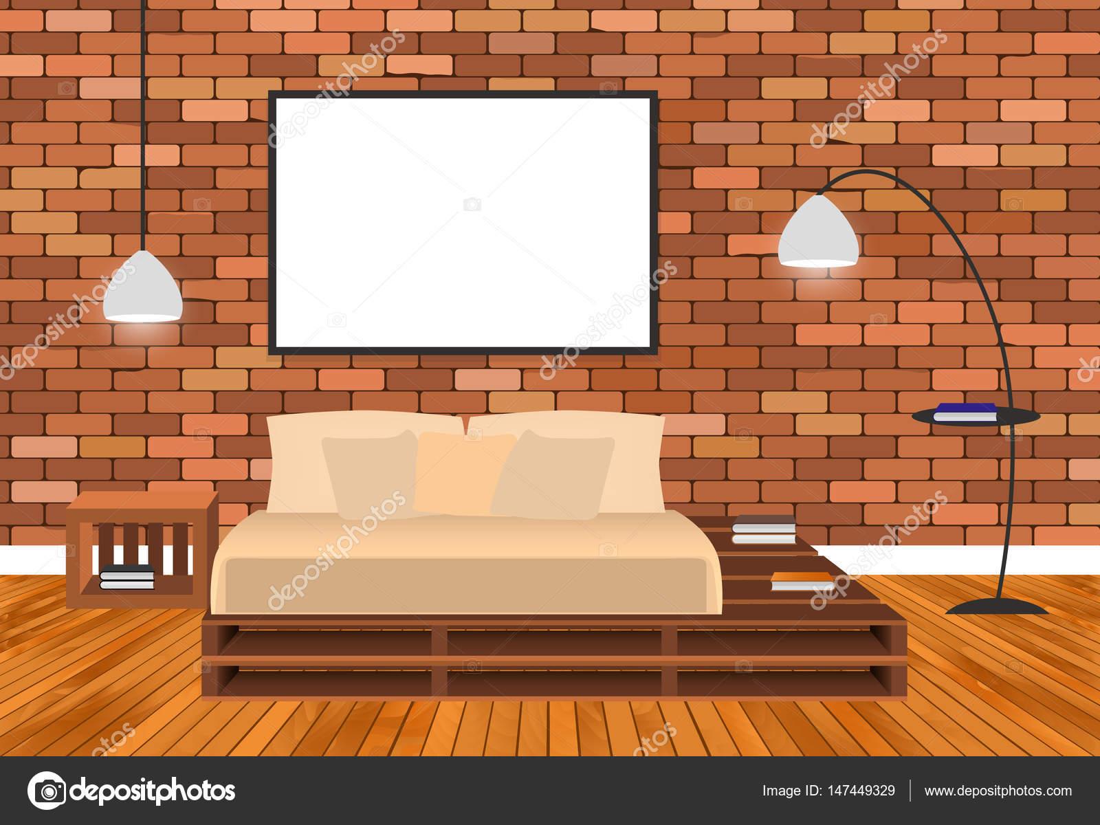 Mockup woonkamer interieur in hipster stijl met lege frame, bed ...