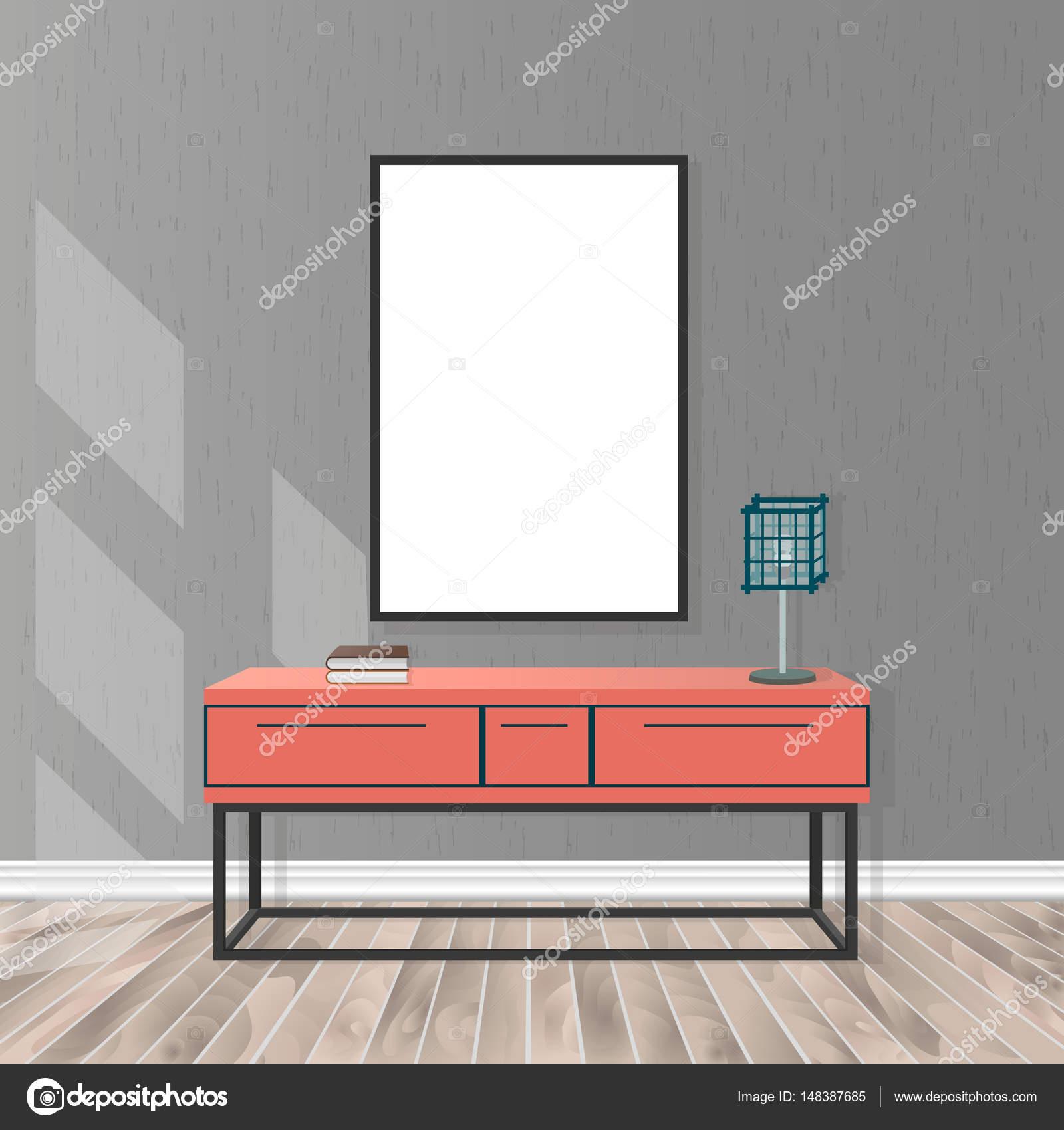 Mock Up Wohnzimmer Interieur Mit Leeren Rahmen Buro Lampe Parkett