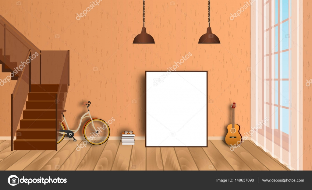 mockup living room interior with empty frame bicycle guitar wood floor and second floor stairway vector
